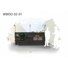 Betónová vonkajšia kuchyňa WWOO-02-01 antracitová s integrovaným Big Green Egg Large plnej výbave